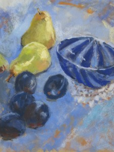 Still Life with pears plums murano glass bowl