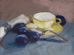 Pastel Still Life with Napkin Plums and Teacup