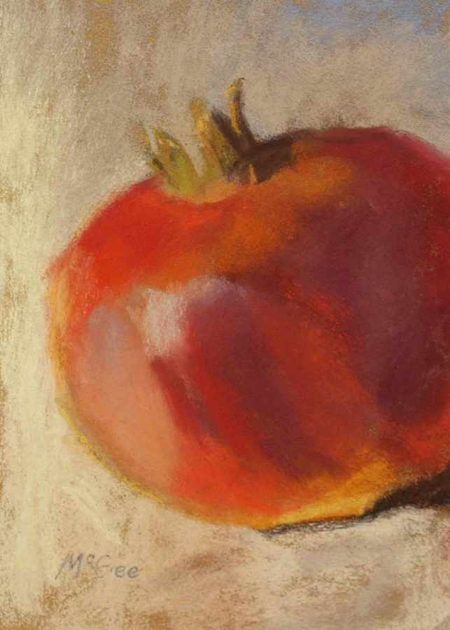 Pastel painting of pomegranate