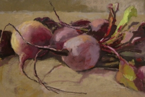 Pastel of Julie's beets washed.