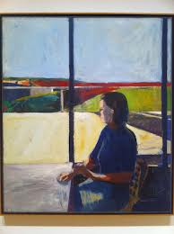 Diebenkorn interior with landscape and figure