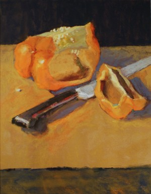Orange Pepper and Knife Pastel 16x20